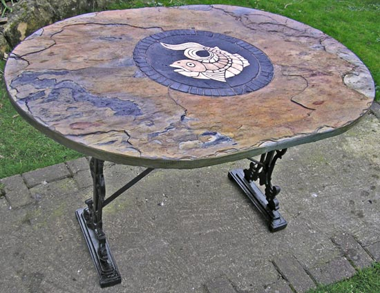 Fish Mosaic Table showing legs